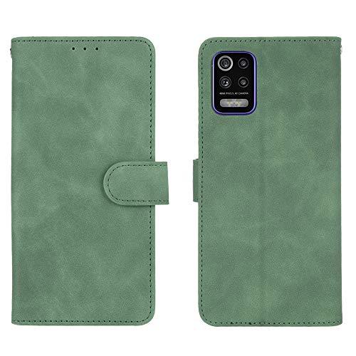 HAOREN Leder Hülle für LG K52 Hülle, Premium PU/TPU Leder Folio Hülle Schutzhülle Handyhülle, Flip Hülle Klapphülle Lederhülle mit Standfunktion und Kartensteckplätzen, Grün