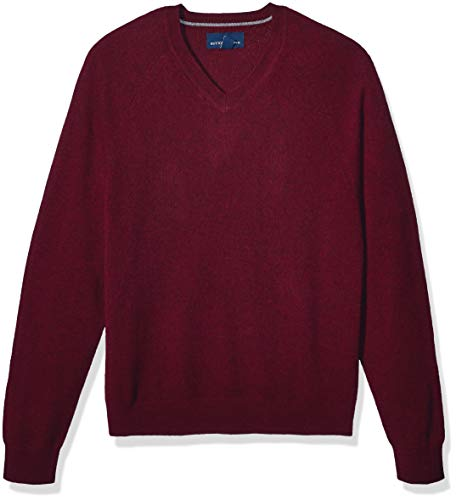 Amazon Brand - Buttoned Down Men's 100% Premium Cashmere V-Neck Sweater, Burgundy, Medium