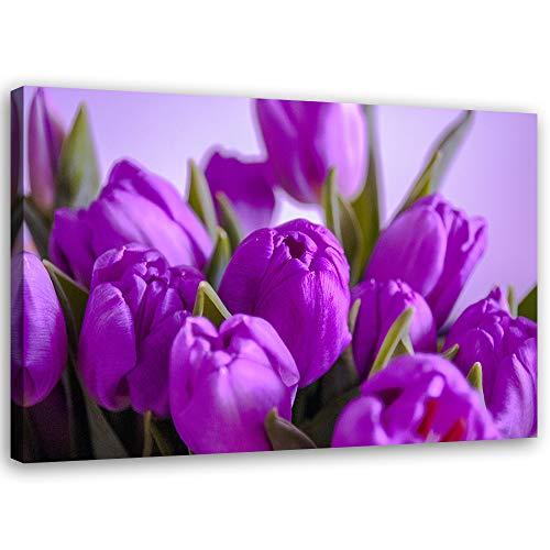 Cuadros en Lienzo Tulipanes Arte Moderno Flores Morado 90x60 cm
