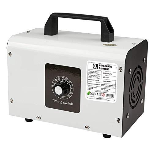 AMAZEAN O3 Premium/Generador de ozono Industrial 48.000mg / HR 220v, Dispositivo de ozono para Habitaciones, Humo, Coches y Mascotas.Tecnologia Honey-Comb-Tec© (Blanco +)