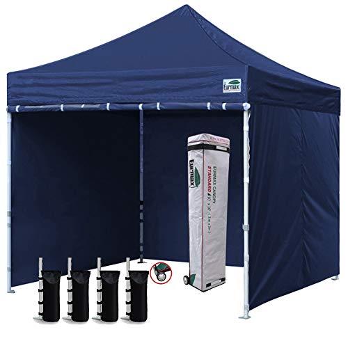 Eurmax 10'x10' Pop up Canopy Tent with 4 Walls and Roller Bag, Bonus 4 SandBags,Navy Blue