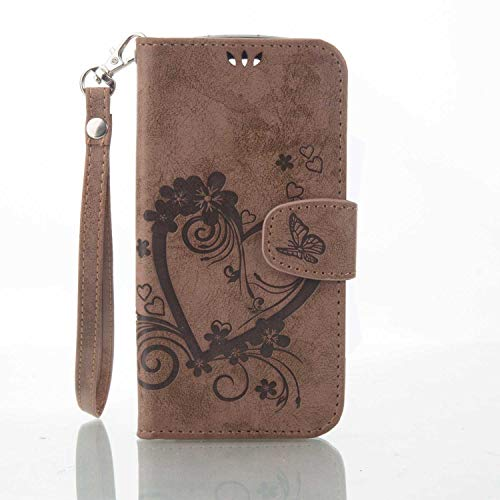 THRION LG K8 Hülle, PU Herz Blume Brieftaschenetui mit magnetischer Handschlaufe und Ständerhalterung für LG K8, Braun