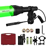 LUMENSHOOTER A10 Ultimate 1000 Lumens Green Hunting Light Flashlight with Rubber Halo Shield, Red White 850nm Infrared IR Torch, Long Range Zoomable Scope Light for Predator, Coyote, Varmint, Hog