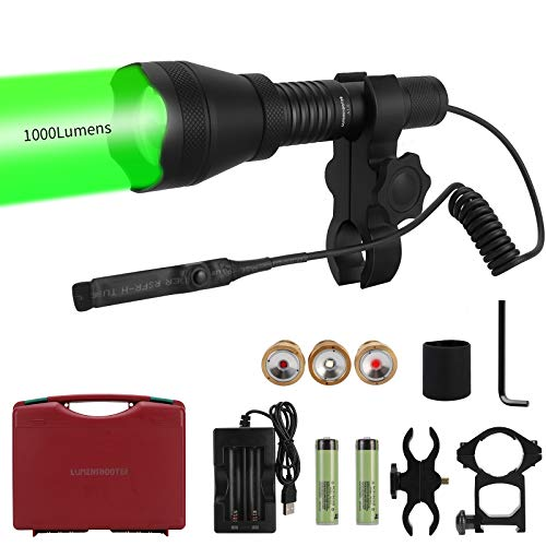 LUMENSHOOTER Ultimate A10 Zoomable Hunting Light with Rubber Halo Shield, 1000 Lumens Green, Red, White and 850nm Infrared IR LEDs, Long Range Scope Light for Predator, Coyote, Varmint, Hog, Raccoon