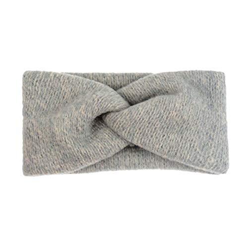 Naikaxn Stirnbänder Frauen Art und Weise Kreuz weiche Wollstirnband des Mädchens netten warme Kopfbedeckung Dame Vintage-Haarschmuck (Color : Grey)