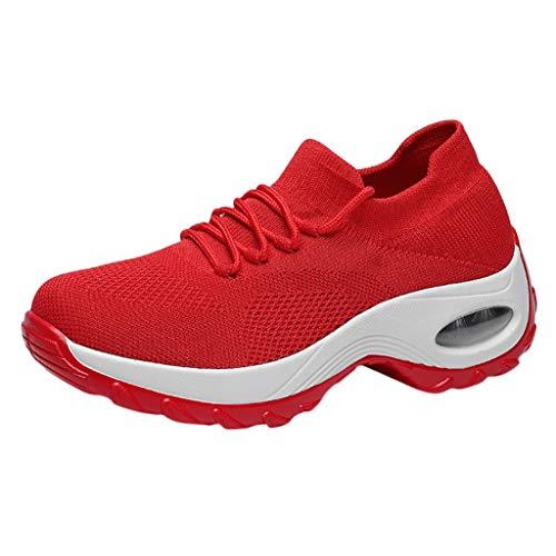 SOMEUSN Damenmode Atmungsaktive Laufschuhe Outdoor Fitness Sport Licht Dicken Boden Bequeme rutschfeste Freizeitschuhe Damen Fliegen Gewebte Socken Schuhe Schaukelschuhe Tennisschuhe