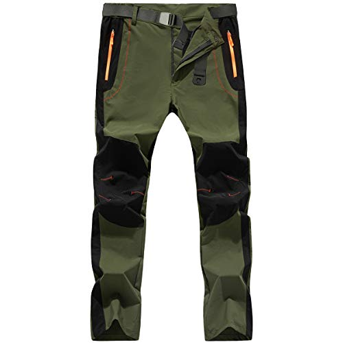 LTIFONE Mens Hiking Athletic Pants, Quick-Dry Lightweight Waterproof with Zipper Pockets and Belt(Green,M)
