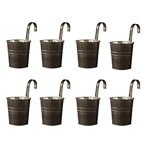 ALXFFBN 8Pcs Plant Planter 4inch Metal Iron Hanging Flower Pots Vintage Hanging Flower Bucket Balcony Planters Railing Hanging Decoration Flower Holders with Hooks