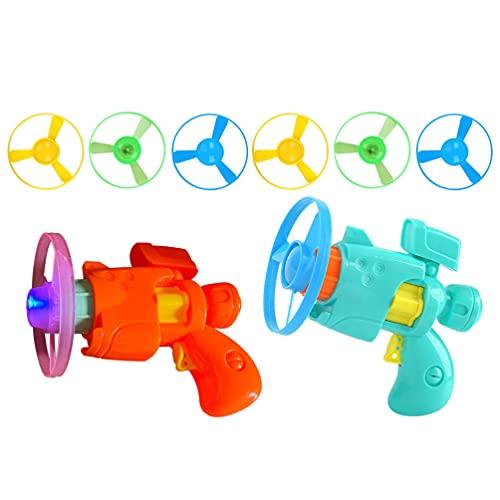 Toyvian Juguetes de Disco Volador Juguete Lanzador de Disco Súper Platillo Juguete Giratorio Disco Volador Divertido Juguetes de Mosca para Interiores O Exteriores ( Color Aleatorio )