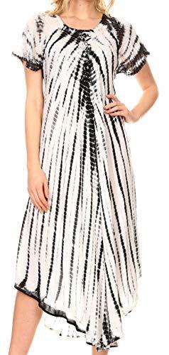 Sakkas 17601 - Yasmin Tie Dye Bestickte Transparente Flügelärmeln Sommerkleid | Vertuschen - Schwarz/Weiß - OS