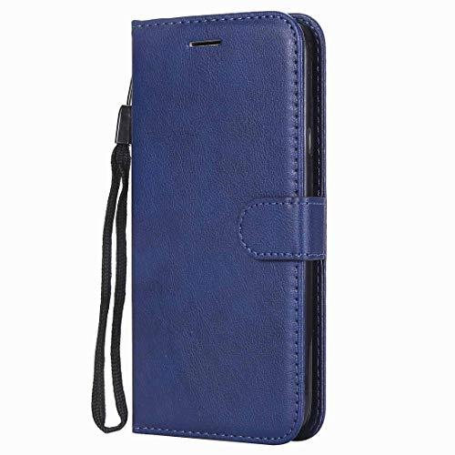 Yiizy handyhülle für Huawei P8lite / ALE-L21 Ledertasche, Simple Fashion Stil Lederhülle Brieftasche Schutzhülle für Huawei P8 Lite hülle Silikon Cover mit Magnetverschluss Kartenfächer (Blau)