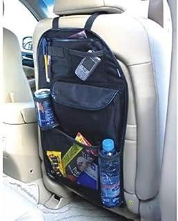 Organizador de asiento trasero de coche, bolsa de almacenamiento con varios bolsillos, funda para asiento trasero, alfombrilla protectora para niños, juguetes, botellas, caja de pañuelos, vehículos, accesorios de viaje, Negro, Mediano