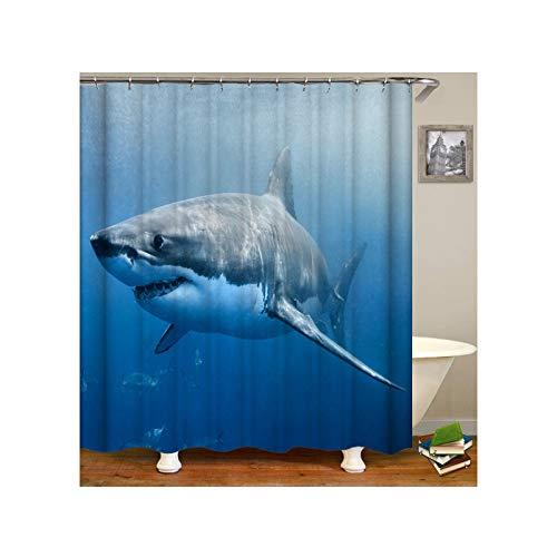 ANAZOZ Duschvorhang 3D-Effekt Wasserdicht, Anti Schimmel, Waschbar Umweltfre&lich mit 12 Duschvorhangringen Polyester Großer Hai Unter Dem Meer Bad Vorhang für Badezimmer Badewanne 180X180CM A9492
