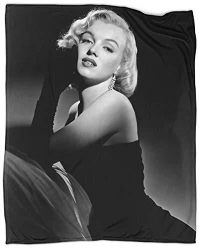 SSKJTC Manta de fotografía en blanco y negro Marilyn Monroe para sala de estar, cama, camping, picnic, 76 x 106 cm