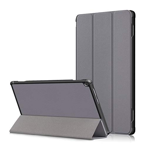 Lenovo M10 FHD Rel 10.1' Cover, Heavy Duty PU Leather Case with Auto Wake Up/Sleep Shell Multi-Angle Viewing Stand Bumper for Lenovo M10 FHD Rel TB-X605FC/TB-X605LC 10.1 Inch Tablet PC (gray)