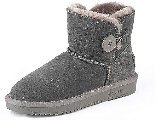 ZY&FC Snowchaussures Lady chaussures avec Fond Plat Anti-dérapant Bouton épaississeHommest et Chaussures d'hiver au Chaud