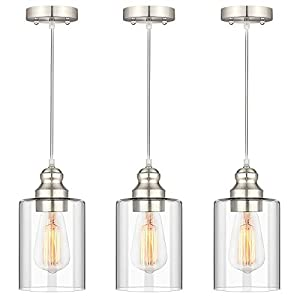 Industrial Pendant Lighting, Adjustable Hanging Light Fixtures, Clear Glass Shade Pendant Light, Vintage Farmhouse Mini Hanging Ceiling Lamp for Kitchen Living Room Bedroom Hallway, E26 Base, 3-Pack