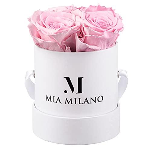 Mia Milano Infinity Rosen 3 Jahre haltbar I Rosenbox mit Vier echten Rosen I Langlebige Blumen in Box I Konservierte Rosen mit Geschenkbox I Handmade in Germany
