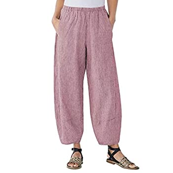 iYYVV Fashion Womens Casual Solid Pocket Elastic Waist Loose Linen Pants Trousers