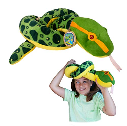Juguete Suave de la Serpiente de la Anaconda de EcoBuddiez (el 140cm) - Juguete Suave y mimoso de la Felpa de Deluxebase. Hecho de Las Botellas plásticas recicladas. Regalo mimoso
