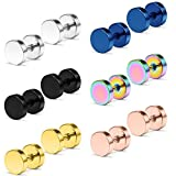 Dyknasz Flat Back Earrings Surgical Steel Mens Womens Stud Earrings Ear Plugs Tunnel Punk Style Piercing Jewelry 6 Pairs 6mm Fake Faux Gauge Barbell Earrings Silver Rose Gold Black Rainbow