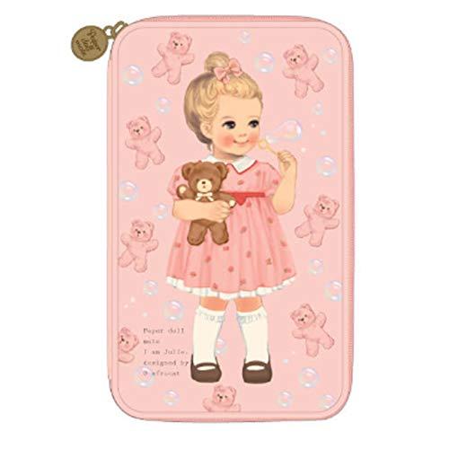 [韓国Afrocat] Afrocatペーパードールメイトの女性 マルチペンポーチL Ver3バッグ (Afrocat Paper Doll Mate Multi Pen Pouch L Ver3 Bag) (Pink(Julie)) [並行輸入品]