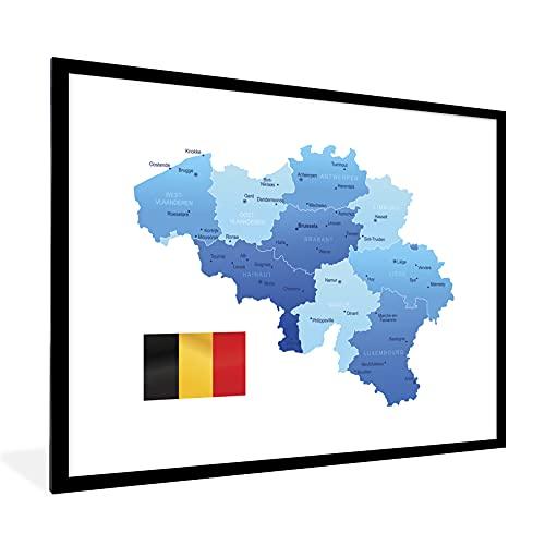 Poster mit Rahmen - Eine Illustration einer blauen Karte von Belgien mit der Flagge - fotolijst zwart met witte passe partout 60x80 - 80x60 cm