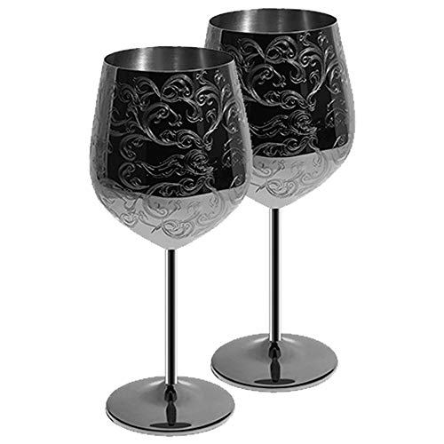 SKYFISH - Juego de 2 copas de vino de acero inoxidable grabadas con grabados barrocos intrincados y auténticos, estilo real, 17 onzas negro