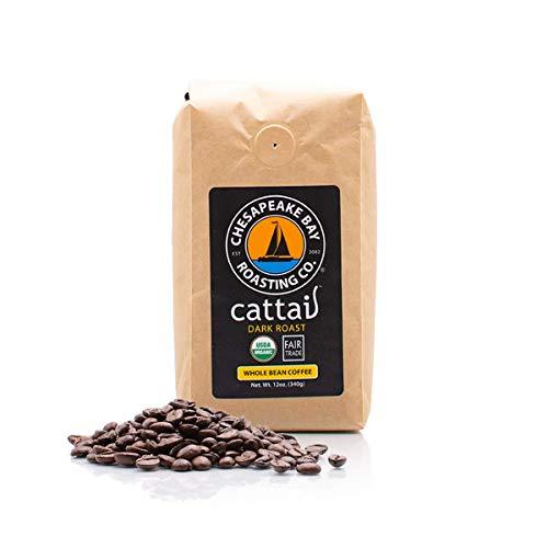 Chesapeake Bay Roasting Company, Cattail, Dark Roast, Whole Bean Coffee, Maryland USDA Certified Organic, Fair Trade, 12oz Resealable Bag