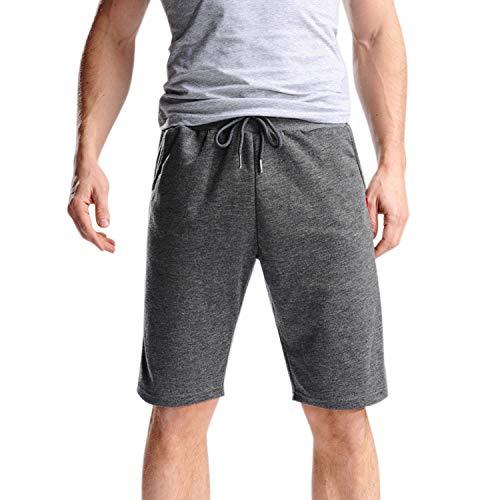 Libertepe Pantalon Short Homme en Polyester avec Cordon de Serrage Réglable Pantacourt Casual Sport Running Fintess Gris foncé FR 36-L