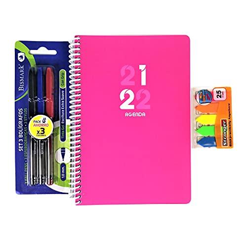 Agenda escolar semana vista A5 de bolsillo 2021 -2022 incluye paquete de 3 bolígrafos de colores tinta de gel y paquete de puntos de página de colores. Kit escolar (Rosa)