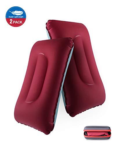 Deepee Ultralight Opblaasbaar kussen met opbergtas voor Backpacken, Wandelen, Strand, Auto, Vliegtuig, 2 Verpakking, Rozerood