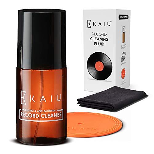 KAIU Vinyl Record Cleaning Solution - Anti Static Record Cleaning Washer Fluid with Silicone Label Protector & Microfiber Cloth - Vinyl Album Cleaner Spray - Remove Dust & Dirt - 3-in-1 Supplies Kit