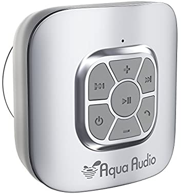 AquaAudio Cubo – Portable Waterproof Bluetooth Speaker with Suction Cup for Showers, Car, etc. - Pairs with All Bluetooth Devices + Siri Compatible - 10 hours Playtime/Built-in Mic (Silver)