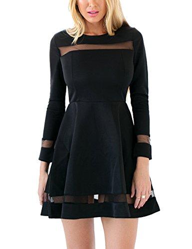GRAPENT Woments Black Cocktail Long Sleeve Mesh A-Line Skater Short Dress Casual US 18