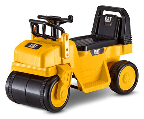 Kid Trax CAT Steamroller Toddler Quad Ride On Toy, 6 Volt Battery, 1.5-3 Years Old, Max Weight 44 lbs, Single Seater, Steamroller Yellow