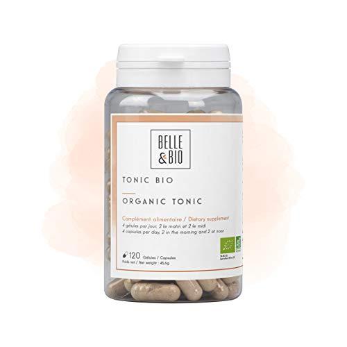 Belle&Bio - Tonic Bio - 120 gélules - Anti-fatigue - Certifié Bio par Ecocert - Maca, Ginseng, Gingembre, Guarana et Acérola - Fabriqué en France