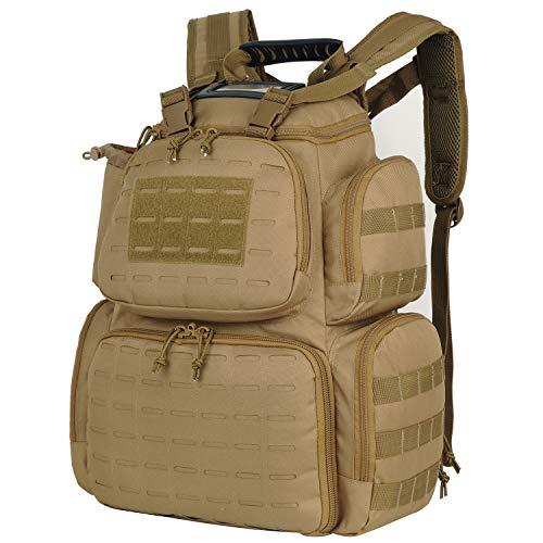 AUMTISC Gun Range Bag for Handguns Tactical Backpack with 3-Pistol Case (Khaki1)