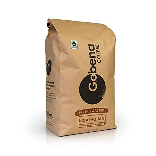 5lb Fair Trade Certified Nicaraguan Ground Dark Roast Coffee, 100% Arabica Specialty Coffee, 80 ounces, 5 pounds, Bulk Coffee