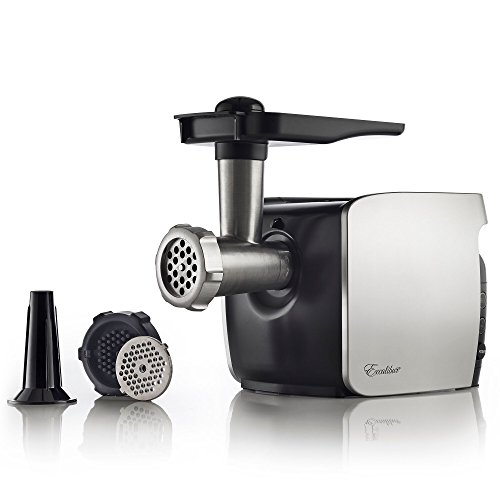 Excalibur Electric 2/3 HP Household Cube Grinder Grinds 2 Pounds of Meat per Minute, Silver