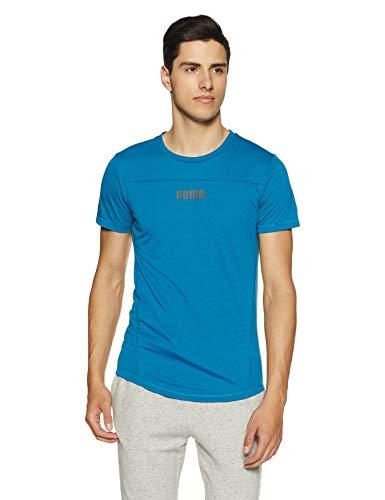 PUMA T-Shirt Active Tec Shape pour Homme. Taille Unique Bleu Mykonos