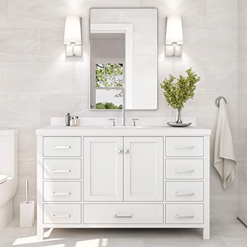 ARIEL 55' Inch Bathroom Vanity in White with Pure White Quartz Countertop   Rectangle Sink   2 Soft Closing Doors and 9 Full Extension Dovetail Drawers   with Backsplash   No Mirror