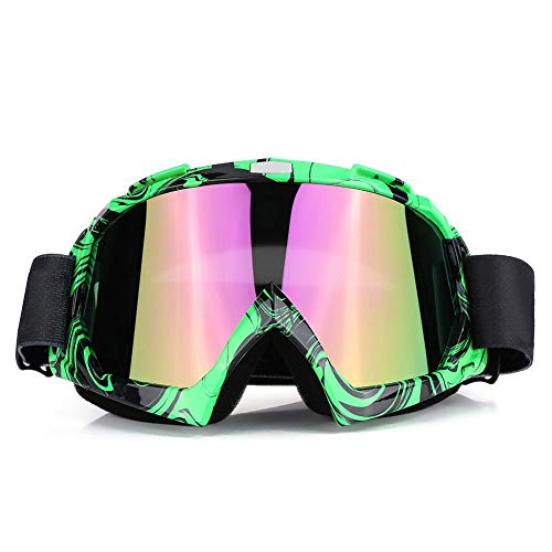 Yctze Occhiali da moto, Moto Motocross Off Road Dirt Bike Occhiali da corsa Occhiali Protezione degli occhi(Cornice verde + lente colorata)