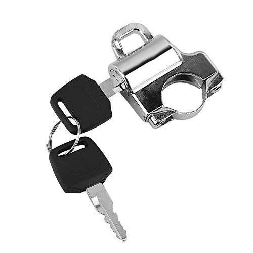 XIAO-XIN Universal Motorcycle Helmet Lock 22mm Handlebars Helmet Security Lock Padlock with 2 Keys for motorcycle with 22mm handlebar (Color : Electroplate)