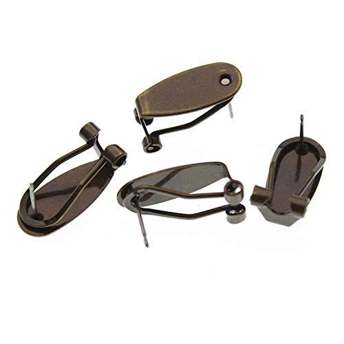10pcs 9x20mm original latón oro plata Stud Pendientes gancho oído clip base para oído Stud DIY joyería fabricación accesorios YC0320 (color: bronce antiguo)