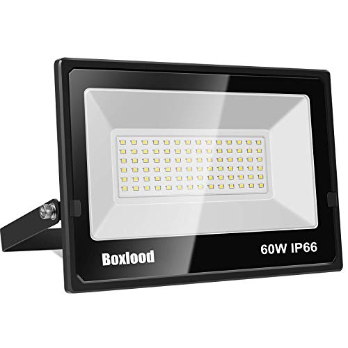 Boxlood LED Flood Light Outdoor 5000K Daylight White SUPER Bright Floodlight, 60W IP66 Waterproof 180°Adjustable Angle Perfect for Backyard Fence Garage Ad Board Football Field Basketball Court 1 Pack