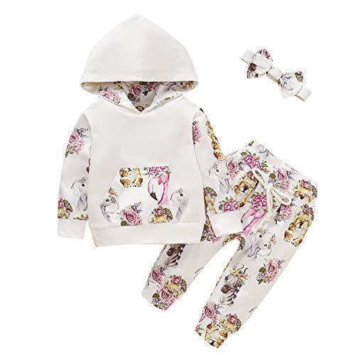 puseky Newborn Baby Girl Long Sleeve Floral Hoodie Sweatshirt Tops+ Pant...