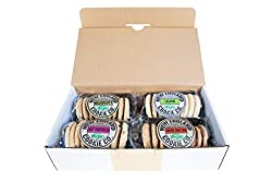 4 x 150g packs of shortbread biscuits, baked in the United Kingdom 100% suitable for Vegan & Vegetarian diets **BUT CONTAINS GLUTEN** Free from preservatives, with no artificial flavourings or colours Presented in a branded, recycleable white cardboa...