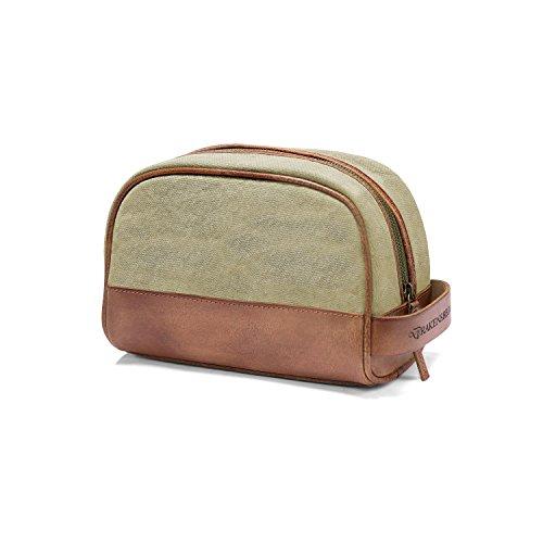 DRAKENSBERG Dopp Kit, wash Bag, Toiletry Bag, Wet Pack, Buffalo Leather, Canvas, Handmade, Beige, Sand-Coloured, Brown