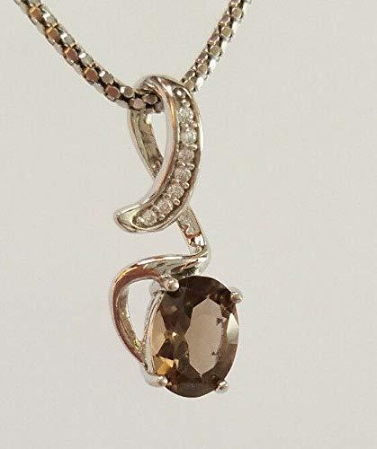 Genuine Brown Topaz Gemstone 925 Sterling Silver CZ Necklace Pendant New RE-121